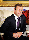 New York, NY - September 23, 2009 -- President Dmitri Medvedev of Russia looks on after  a bilateral meeting with President Barack Obama at the Waldorf Astoria on Wednesday, September 23, 2009 in New York..Credit: Olivier Douliery - Pool via CNP