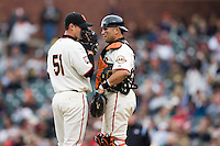 19 April 2007: Giants' pitcher Noah Lowry talks with catcher Eliezer Alfonzo during the San Francisco Giants 6-2 victory over the St. Louis Cardinals at the AT&T stadium in San Francisco, CA.