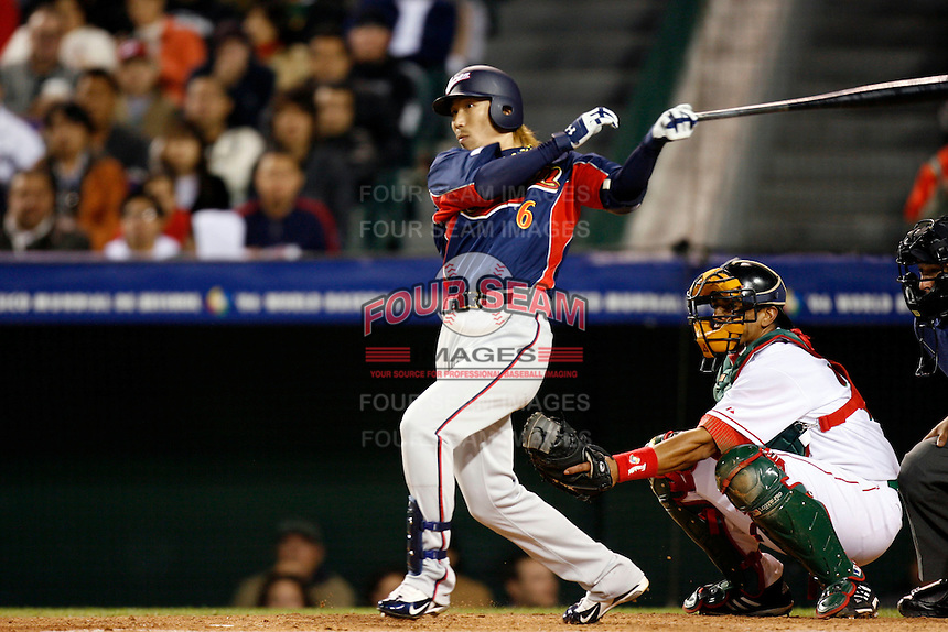 Hitoshi Tamura of Japan during World Baseball Championship at Angel Stadium in Anaheim,California on March 14, 2006. Photo by Larry Goren/Four Seam Images