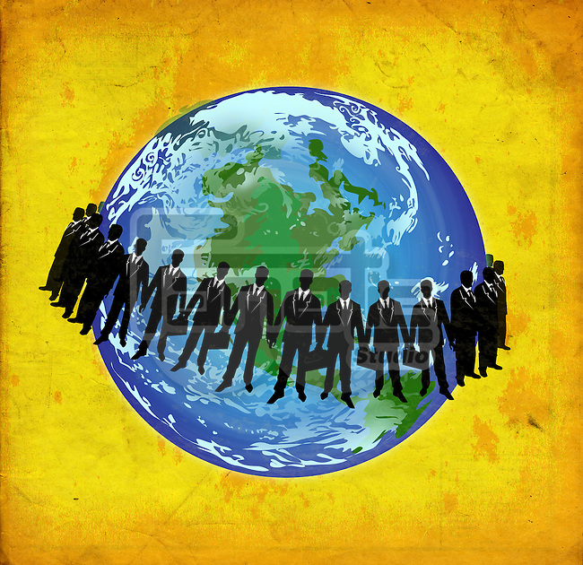 Conceptual shot of businessmen standing around globe representing global business