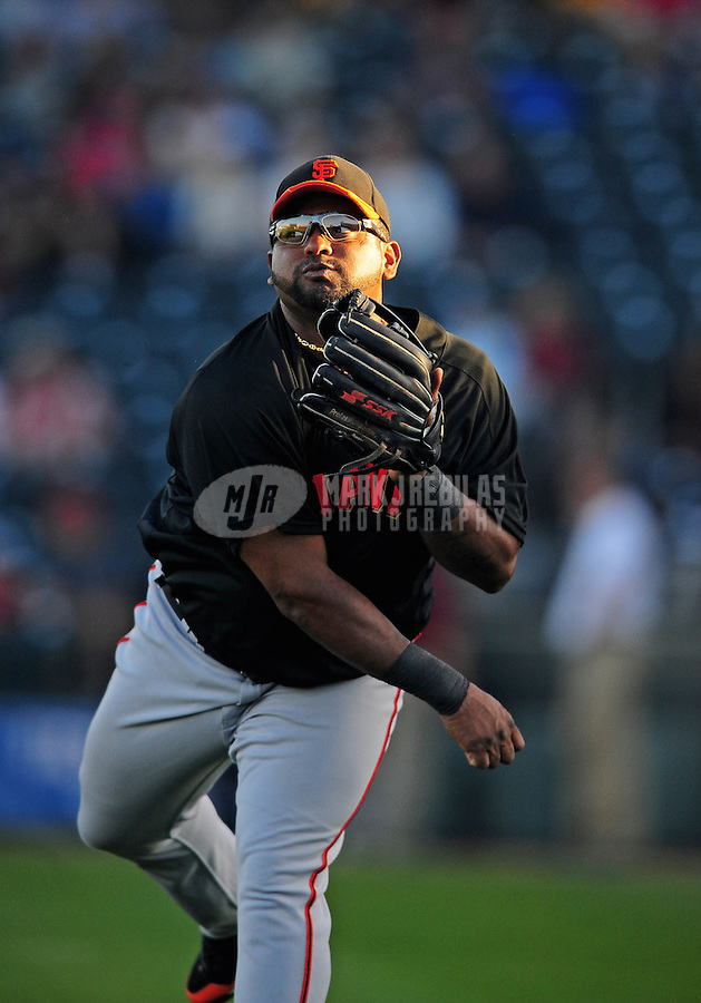 Mar. 15, 2010; Surprise, AZ, USA; San Francisco Giants third baseman Pablo Sandoval against the Texas Rangers during a spring training game at Surprise Stadium. Mandatory Credit: Mark J. Rebilas-