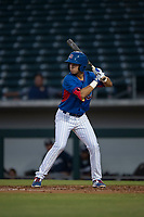 AZL Cubs designated hitter Reivaj Garcia (24) at bat during an Arizona League game against the AZL Brewers at Sloan Park on June 29, 2018 in Mesa, Arizona. The AZL Cubs 1 defeated the AZL Brewers 7-1. (Zachary Lucy/Four Seam Images)