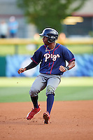 Lehigh Valley IronPigs center fielder Darnell Sweeney (24) running the bases during a game against the Buffalo Bisons on July 9, 2016 at Coca-Cola Field in Buffalo, New York.  Lehigh Valley defeated Buffalo 9-1 in a rain shortened game.  (Mike Janes/Four Seam Images)