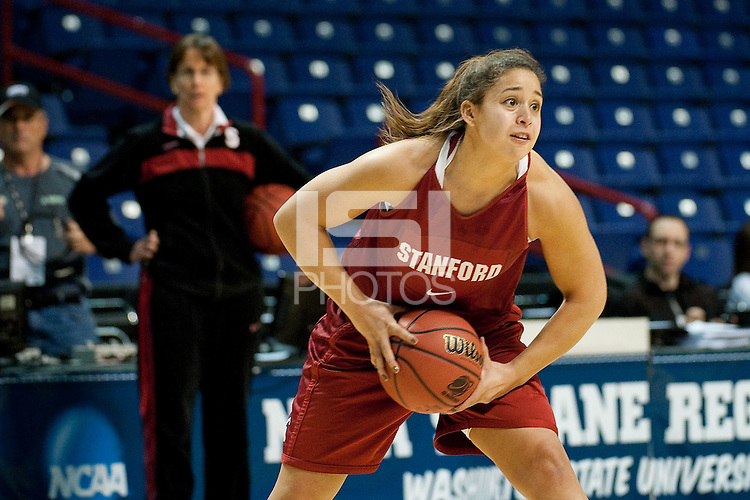 SPOKANE, WA - MARCH 25, 2011: Grace Mashore at the Stanford Women's Basketball, NCAA West Regionals practice at Spokane Arena on March 25, 2011.