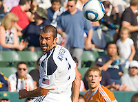 LA Galaxy forward Jovan Kirovski (9) heads a ball into the goal. The LA Galaxy defeated the Houston Dynamo 4-1 at Home Depot Center stadium in Carson, California on Saturday evening June 5, 2010..