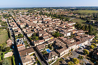 France, Dordogne (24), Monpazier, labellis&eacute; Les Plus Beaux Villages de France (vue a&eacute;rienne) // France, Dordogne, Monpazier, labelled Les Plus Beaux Villages de France (The Most beautiful<br /> Villages of France), (aerial view)