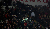 Soldiers abseiling from the roof before the Barclays Premier League match between Swansea City and Watford at the Liberty Stadium, Swansea on January 18 2016