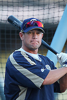 Brian Giles of the San Diego Padres during batting practice before a game against the Los Angeles Dodgers in a 2007 MLB season game at Dodger Stadium in Los Angeles, California. (Larry Goren/Four Seam Images)