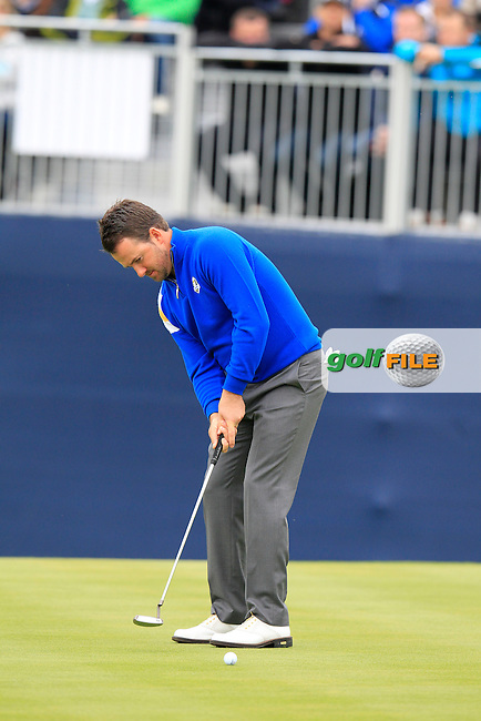 Graeme McDowell (EUR) putts on the 15th green during Sunday's Singles Matches of the Ryder Cup 2014 played on the PGA Centenary Course at the Gleneagles Hotel, Auchterarder, Scotland.: Picture Eoin Clarke, www.golffile.ie: 28th September 2014