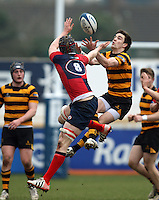 4 March 2013; Ballyclare number 8 Jonny Darling and RBAI winger Rory Campbell battle for the ball during the schools cup semi-final clash between RBAI and Ballyclare High School at Ravenhill Belfast. Photo Credit : John Dickson / DICKSONDIGITAL
