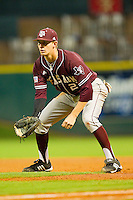 First baseman Jacob House #27 of the Texas A&M Aggies on defense against the Rice Owls at Minute Maid Park on March 5, 2011 in Houston, Texas.  Photo by Brian Westerholt / Four Seam Images