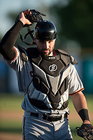San Jose Giants catcher Matt Winn (10) during a California League game against the Modesto Nuts at John Thurman Field on May 9, 2018 in Modesto, California. San Jose defeated Modesto 9-5. (Zachary Lucy/Four Seam Images)
