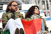 I genitori di Gregorio Paltrinieri in tribuna avvolti in una bandiera italiana <br /> Day16 07/08/2015 Kazan Arena <br /> Nuoto - Swimming <br /> XVI FINA World Championships Aquatics  <br /> Kazan Tatarstan RUS <br /> Photo Andrea Staccioli/Deepbluemedia/Insidefoto
