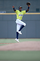 Shortstop Ronny Mauricio (2) of the Columbia Fireflies leaps for a line drive in a game against the Augusta GreenJackets on Friday, May 31, 2019, at Segra Park in Columbia, South Carolina. Augusta won, 8-6. (Tom Priddy/Four Seam Images)