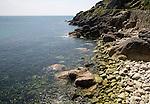 Rocky coastal scenery at Lamorna Cove, Cornwall, England, UK