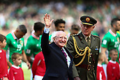 June 11th 2017, Dublin, Republic Ireland; 2018 World Cup qualifier, Republic of Ireland versus Austria;  President of Ireland Michael Higgins waves to the crowd