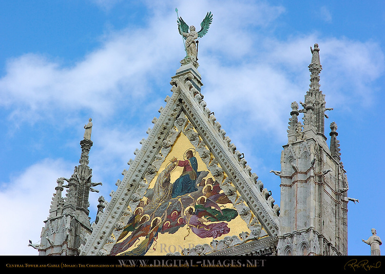Central Tower and Gable, Mosaic Coronation of the Virgin, Alessandro Franchi 1878, Cathedral of Siena, Santa Maria Assunta, Siena, Italy