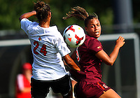 WINSTON-SALEM, NORTH CAROLINA - August 30, 2013:<br />  Rachel Melhado (24) of Louisville University defends against Jazmine Reeves (5) of Virginia Tech during a match at the Wake Forest Invitational tournament at Wake Forest University on August 30. The game ended in a 1-1 tie.