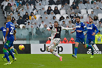 1st December 2019; Allianz Stadium, Turin, Italy; Serie A Football, Juventus versus Sassuolo; Gonzalo Higuain of Juventus has a shot at goal - Editorial Use