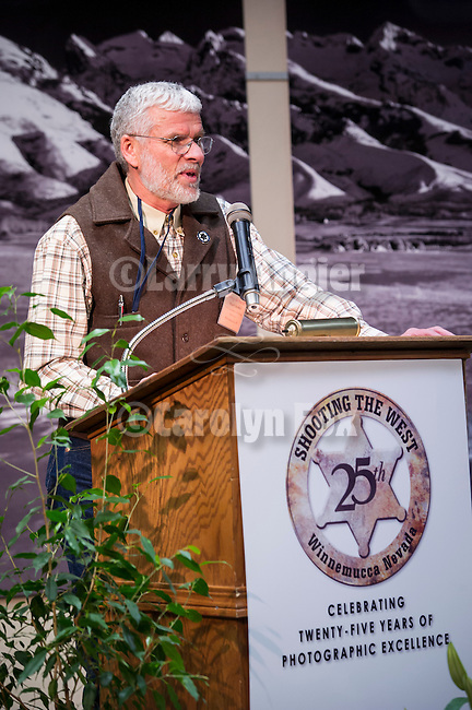Shooting the West XXV, Winnemucca, Nev...Stuart Scofield opening the 25th annual Shooting the West