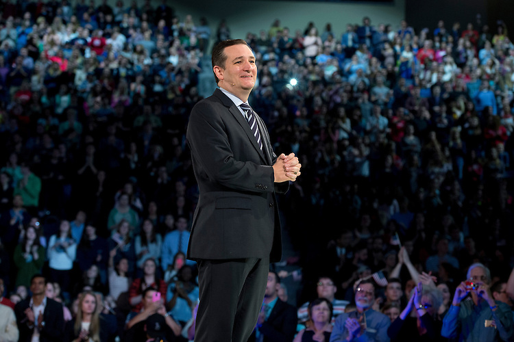UNITED STATES - MARCH 23: Sen. Ted Cruz, R-Texas, speaks during a convocation at Liberty University's Vines Center in Lynchburg, Va., where he announced his candidacy for President of the United States, March 23, 2015. (Photo By Tom Williams/CQ Roll Call)