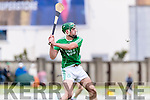 Kilmoyley in action against Eoin Ross Ballyduff in the County Senior Hurling Final at Austin Stack Park on Sunday.