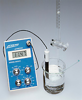 TITRATION OF AN ACID WITH A BASE W/pH METER<br /> (3 of 5 - Variations Available)<br /> NaOH in Buret Added To HCl in Beaker<br /> .10M sodium hydroxide is added to .10M hydrochloric acid. The pH increases to 11.47.  The H3O+ concentration is reduced by neutralization which brings it to its equivalence point, H3O+(aq) + OH-(aq) -&gt; 2H2O(l), and then beyond.