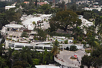 The once five story Montana hotel lies in a heap of rubble after an earthquake measuring 7 plus on the Richter scale rocked Port au Prince Haiti just before 5 pm yesterday, January 12, 2009.