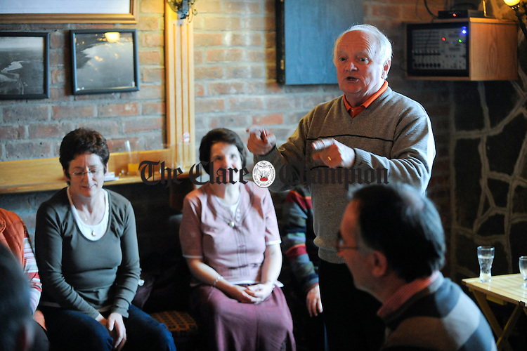 Paul Whelan recites a story in Comerfords during the Willie Keane Memorial Weekend at Doonbeg. Photograph by John Kelly.