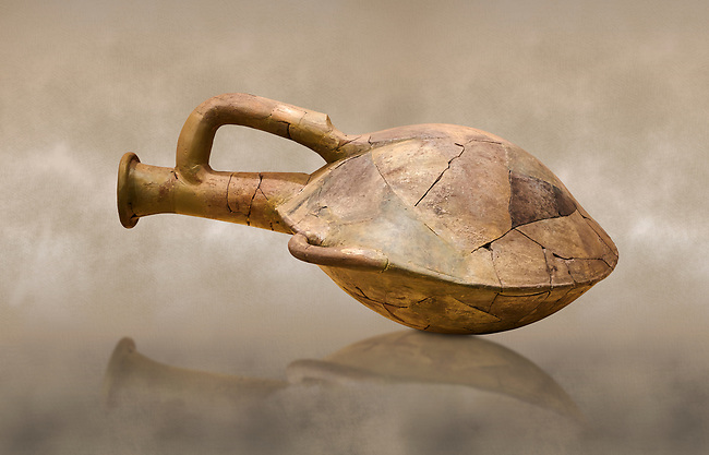 Hittite terra cotta water bottle carried by straps on the back. Hittite Old Period, 1650 - 1450 BC. Huseyindede. Çorum Archaeological Museum, Corum, Turkey. Against a warm art bacground.