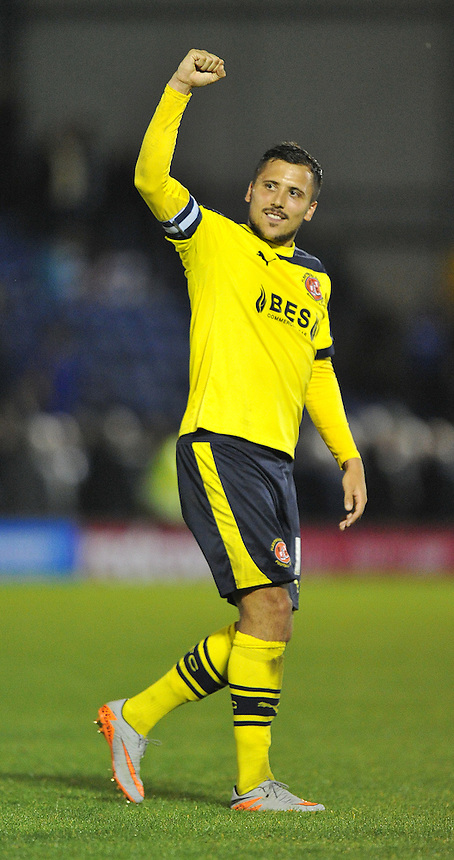 Fleetwood Town's Antoni Sarcevic celebrates the win at the final whistle<br /> <br /> Photographer Dave Howarth/CameraSport<br /> <br /> Football - The Football League Sky Bet League One - Bury v Fleetwood Town - Tuesday 18th August 2015 - Gigg Lane - Bury<br /> <br /> &copy; CameraSport - 43 Linden Ave. Countesthorpe. Leicester. England. LE8 5PG - Tel: +44 (0) 116 277 4147 - admin@camerasport.com - www.camerasport.com
