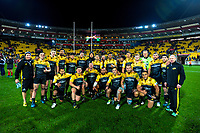 The 2017 Hurricanes team poses for a group photo after the Super Rugby match between the Hurricanes and Crusaders at Westpac Stadium in Wellington, New Zealand on Saturday, 15 July 2017. Photo: Dave Lintott / lintottphoto.co.nz