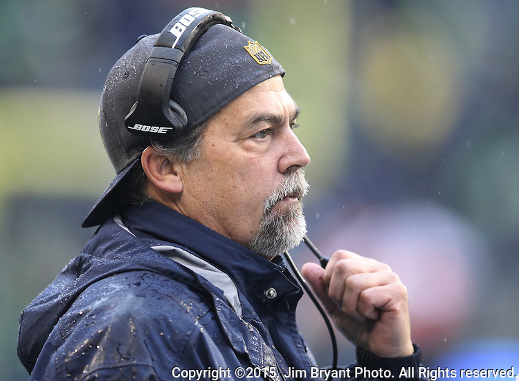 St. Louis Rams head coach Jeff Fisher watches the action on the field at CenturyLink Field in Seattle, Washington on December 27, 2015.  The Rams beat the Seahawks 23-17.      ©2015. Jim Bryant Photo. All Rights Reserved