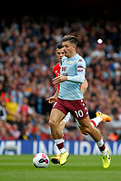 Jack Grealish of Aston Villa on the ball during the Premier League match between Arsenal and Aston Villa at the Emirates Stadium, London, England on 22 September 2019. Photo by Carlton Myrie / PRiME Media Images.