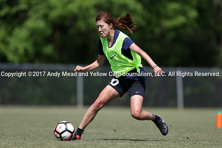 CARY, NC - APRIL 20: Yuri Kawamura (JPN). The North Carolina Courage held a training session on April 20, 2017, at WakeMed Soccer Park Field 7 in Cary, NC.