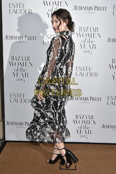 Lily James<br /> Harper's Bazaar Women of the Year 2015 awards,  Claridges Hotel n London, November 03, 2015.<br /> CAP/PL<br /> &copy;Phil Loftus/Capital Pictures