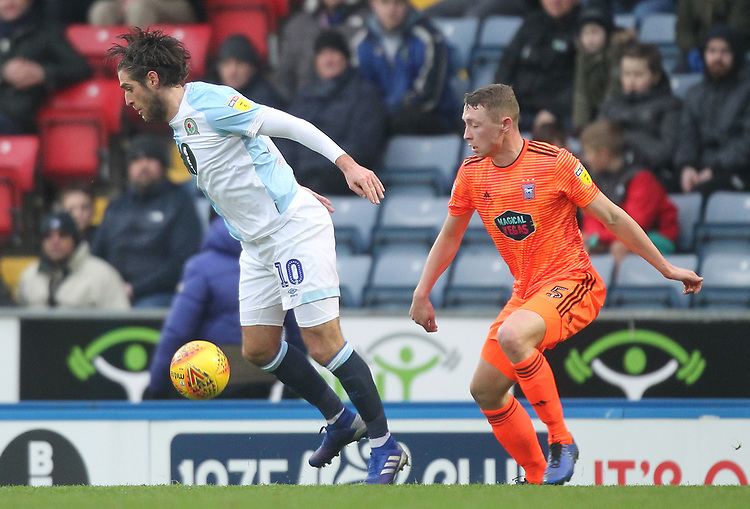 Blackburn Rovers Danny Graham in action with Ipswich Town's Matthew Pennington <br /> <br /> Photographer Mick Walker/CameraSport<br /> <br /> The EFL Sky Bet Championship - Blackburn Rovers v Ipswich Town - Saturday 19 January 2019 - Ewood Park - Blackburn<br /> <br /> World Copyright © 2019 CameraSport. All rights reserved. 43 Linden Ave. Countesthorpe. Leicester. England. LE8 5PG - Tel: +44 (0) 116 277 4147 - admin@camerasport.com - www.camerasport.com