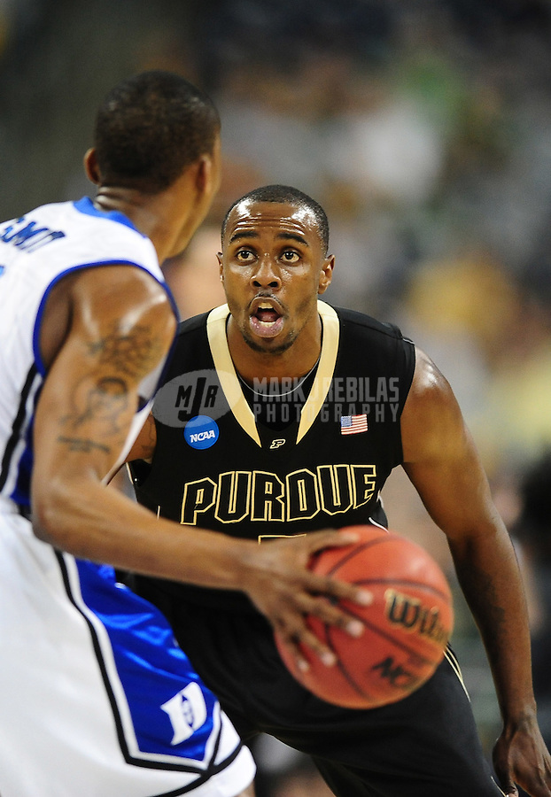 Mar 26, 2010; Houston, TX, USA; Purdue Boilermakers guard (5) Keaton Grant against the Duke Blue Devils during the during the semifinals of the south regional in the 2010 NCAA mens basketball tournament at Reliant Stadium. Duke defeated Purdue 70-57. Mandatory Credit: Mark J. Rebilas-