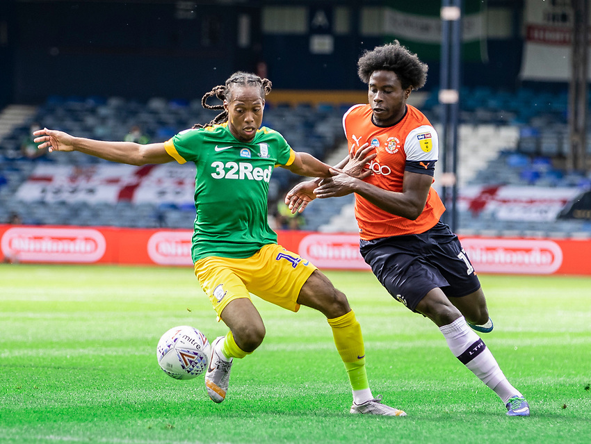 Preston North End's Daniel Johnson (left) competing with Luton Town's Pelly Ruddock <br /> <br /> Photographer Andrew Kearns/CameraSport<br /> <br /> The EFL Sky Bet Championship - Luton Town v Preston North End - Saturday 20th June 2020 - Kenilworth Road - Luton<br /> <br /> World Copyright © 2020 CameraSport. All rights reserved. 43 Linden Ave. Countesthorpe. Leicester. England. LE8 5PG - Tel: +44 (0) 116 277 4147 - admin@camerasport.com - www.camerasport.com