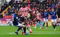 Lincoln City's John Akinde is tackled by Crewe Alexandra's Kevin O'Connor<br /> <br /> Photographer Chris Vaughan/CameraSport<br /> <br /> The EFL Sky Bet League Two - Lincoln City v Crewe Alexandra - Saturday 6th October 2018 - Sincil Bank - Lincoln<br /> <br /> World Copyright &copy; 2018 CameraSport. All rights reserved. 43 Linden Ave. Countesthorpe. Leicester. England. LE8 5PG - Tel: +44 (0) 116 277 4147 - admin@camerasport.com - www.camerasport.com
