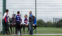 19 APR 2015 - IPSWICH, GBR - Ipswich Eagles team manager Tony Stant (second from right) leads a team talk during the Elite League cycle speedway fixture against Sheffield Stars at Whitton Sports and Community Centre in Ipswich, Suffolk, Great Britain  (PHOTO COPYRIGHT © 2015 NIGEL FARROW, ALL RIGHTS RESERVED)