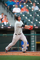 Norfolk Tides first baseman Trey Mancini (21) at bat during a game against the Buffalo Bisons on July 18, 2016 at Coca-Cola Field in Buffalo, New York.  Norfolk defeated Buffalo 11-8.  (Mike Janes/Four Seam Images)