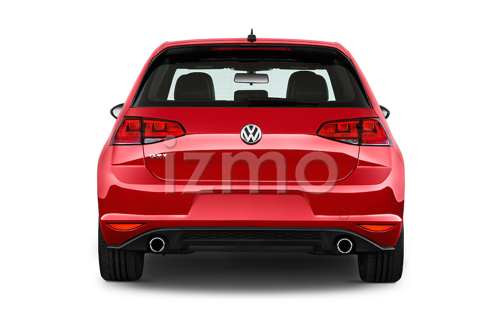 Straight rear view of a 2015 Volkswagen GTI DSG 2 Door Hatchback Rear View  stock images