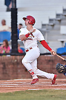 Johnson City Cardinals catcher Andrew Knizner (21) swings at a pitch during Game Two of the Appalachian League Championship series against the Burlington Royals at TVA Credit Union Ballpark on September 7, 2016 in Johnson City, Tennessee. The Cardinals defeated the Royals 11-6 to win the series 2-0.. (Tony Farlow/Four Seam Images)