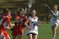 The Mount Saint Mary College women's lacrosse team in action against Montclair State University.
