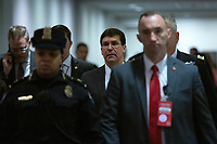 United States Secretary of Defense Dr. Mark T. Esper walks to attend a closed door briefing in the Senate SCIF with United States Secretary of State Mike Pompeo, Gina Haspel, Director, Central Intelligence Agency (CIA), United States Army General Mark A. Milley, Chairman of the Joint Chiefs of Staff, and Acting Director of Intelligence Joseph Maguire at the United States Capitol in Washington D.C., U.S., on Wednesday, January 8, 2020.  97 senators were said to have attended the briefing, which discussed the U.S. drone strike on Iranian military leader Qasem Soleimani and the issue of Congressional authorization for such acts.<br /> <br /> Credit: Stefani Reynolds / CNP/AdMedia