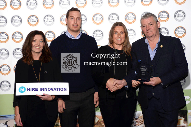 Richard and Allison Leighton, Donnybrewer Butter, Derry with Artie Clifford, Chairman and Gemma Browne, Hire Innovation at the Blas na hEireann / Irish Food Awards in Dingle at the weekend.<br /> Photo: Don MacMonagle<br /> <br /> REPRO FREE PHOTO WITH BLAS NA HEIREANN<br /> further info: Barbara Collins - collib40@googlemail.com