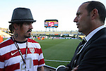 11 September 2012: Rancid drummer Branden Steineckert (left) with Major League Soccer commissioner Don Garber (right) before the game. The United States Men's National Team defeated the Jamaica Men's National Team 1-0 at Columbus Crew Stadium in Columbus, Ohio in a CONCACAF Third Round World Cup Qualifying match for the FIFA 2014 Brazil World Cup.