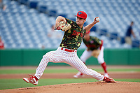 Clearwater Threshers starting pitcher Nick Fanti (29) delivers a pitch during a game against the Florida Fire Frogs on June 2, 2018 at Spectrum Field in Clearwater, Florida.  Clearwater defeated Florida 10-6.  (Mike Janes/Four Seam Images)