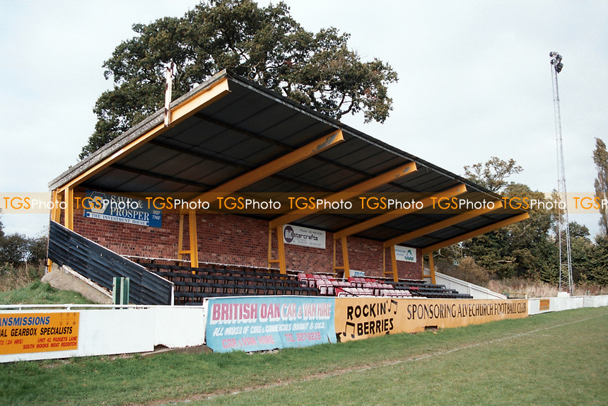The main stand at Alvechurch Villa FC Football Ground, Lye Meadow, Redditch Road, Alvechurch, Warwickshire, pictured on 24th October 1993